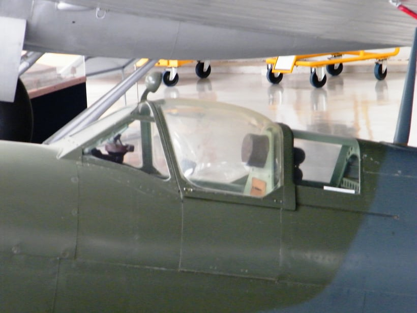 The acrylic canopy of a Supermarine Spitfire