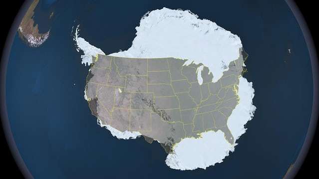 Antarctica with the USA superimposed for scale.