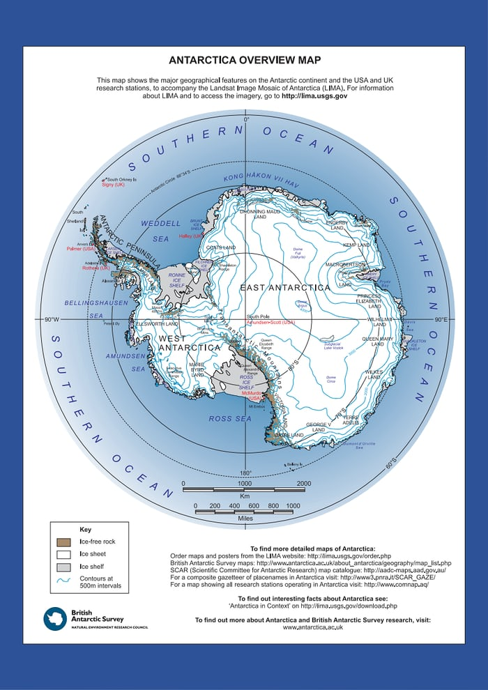 The East Antarctic and West Antarctic Ice Sheet is bisected by the Transantarctic Mountains