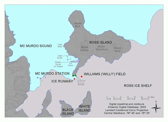 MSSTs was carried out in the McMurdo Sound, pictured here. The US McMurdo station is located near Scott  Base, where MSSTs was headquartered.