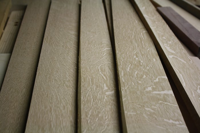 Lumber that will eventually be part of a clock.