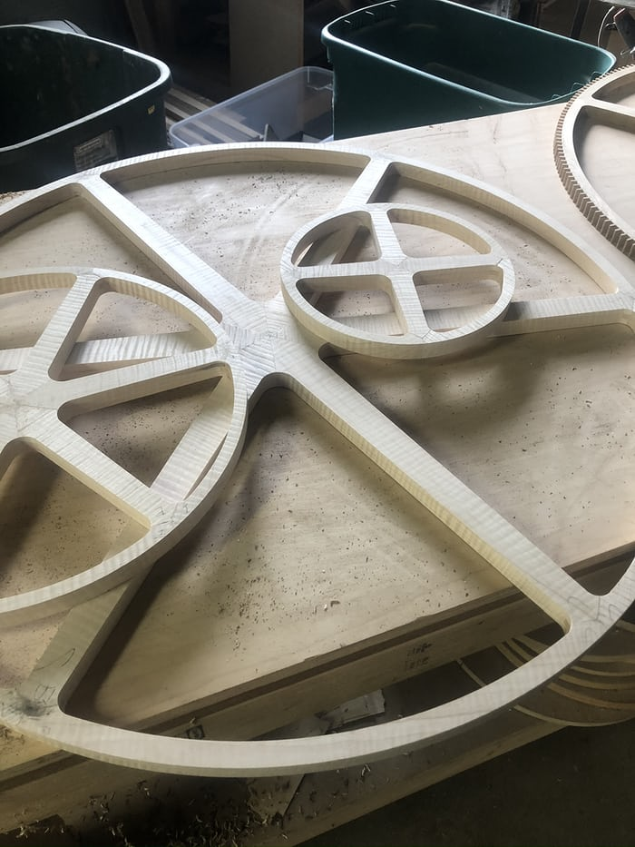 Wheel blank after being glued.