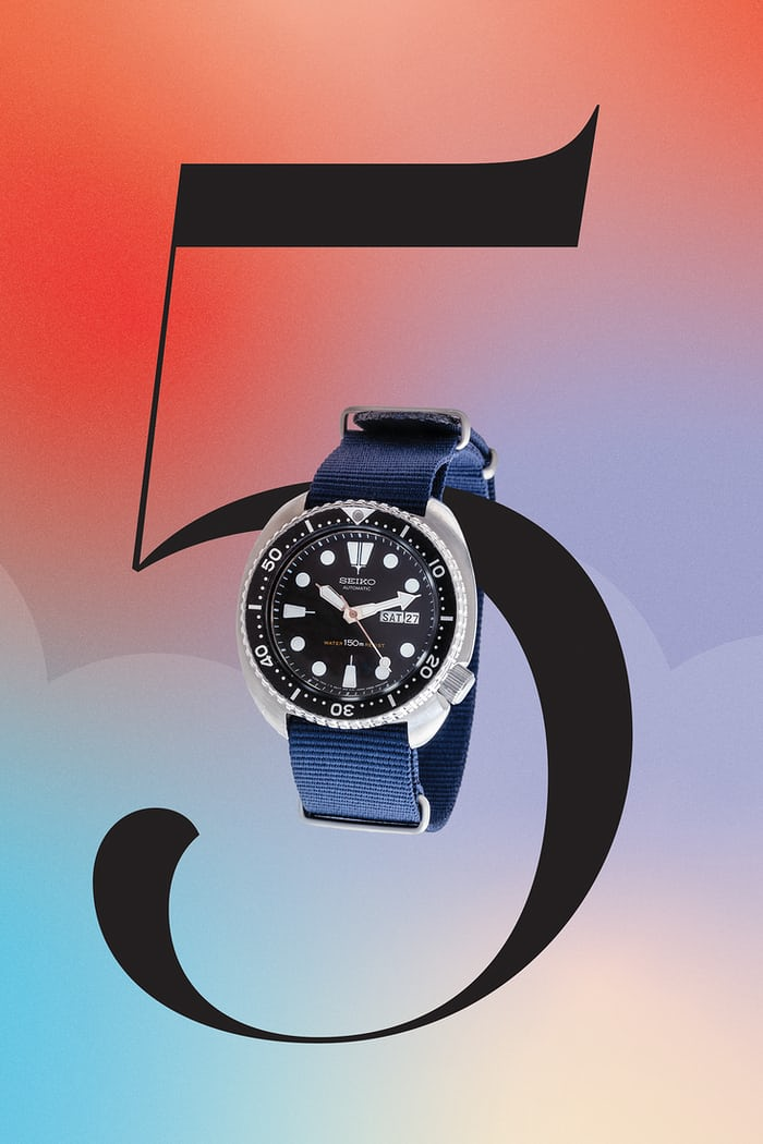 Seiko Turtle and a graphic of the number five