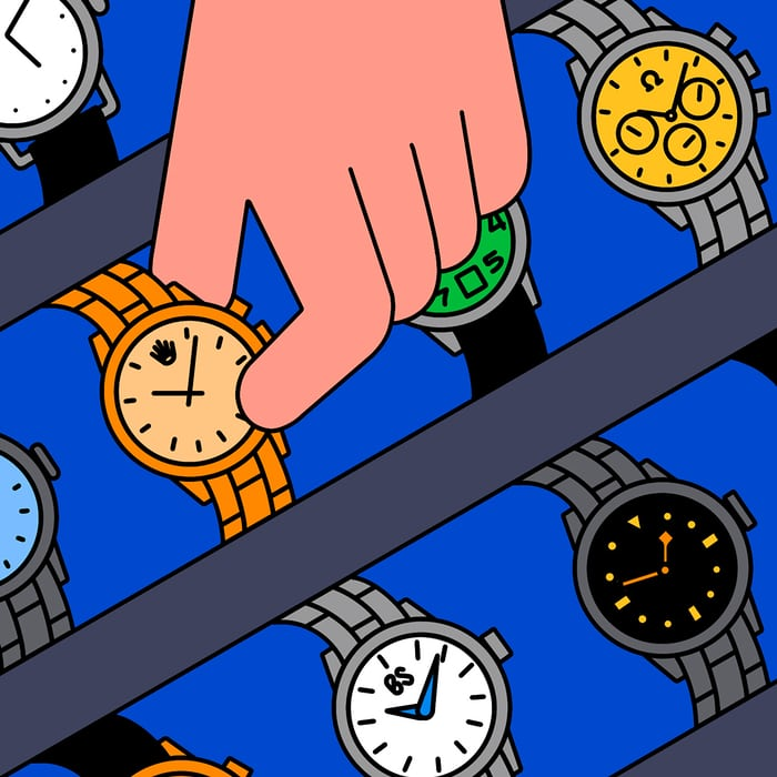 Illustration of a hand selecting a watch
