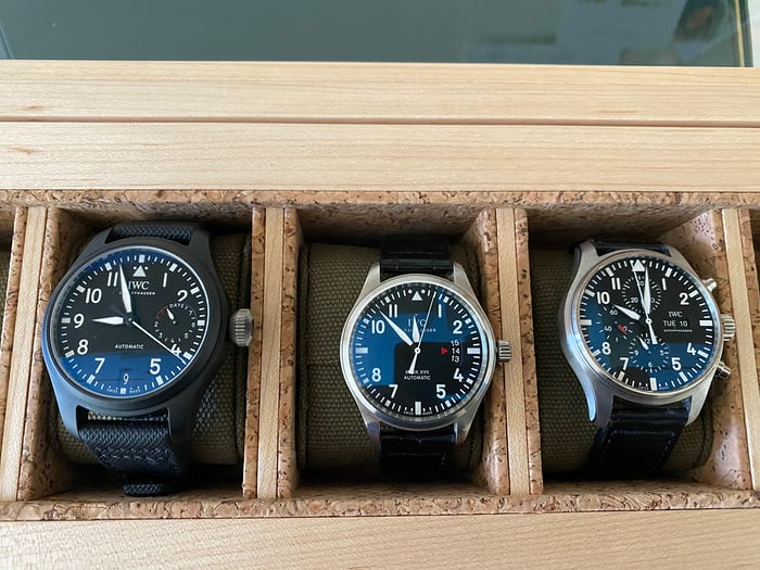 IWC Pilot watches in a display