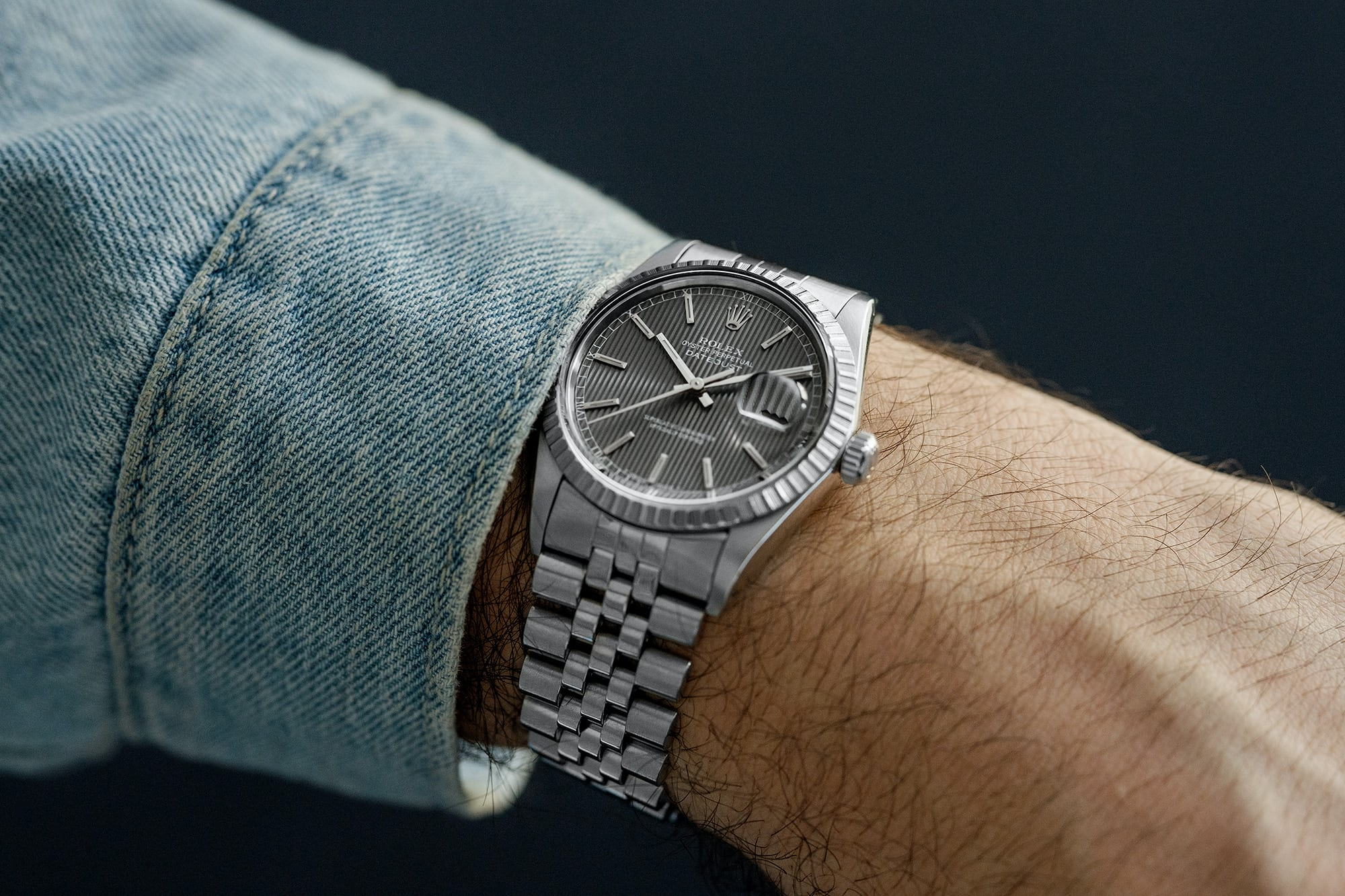 "<p><a href=""https://shop.hodinkee.com/products/ss-oyster-perpetual-datejust-reference-16000-case-9664696-grey-tappeserie-dial-1"" rel=""noopener"" target=""_blank""><u>1987 Rolex Datejust Ref. 16030 With Grey Tapestry Dial</u></a></p>"