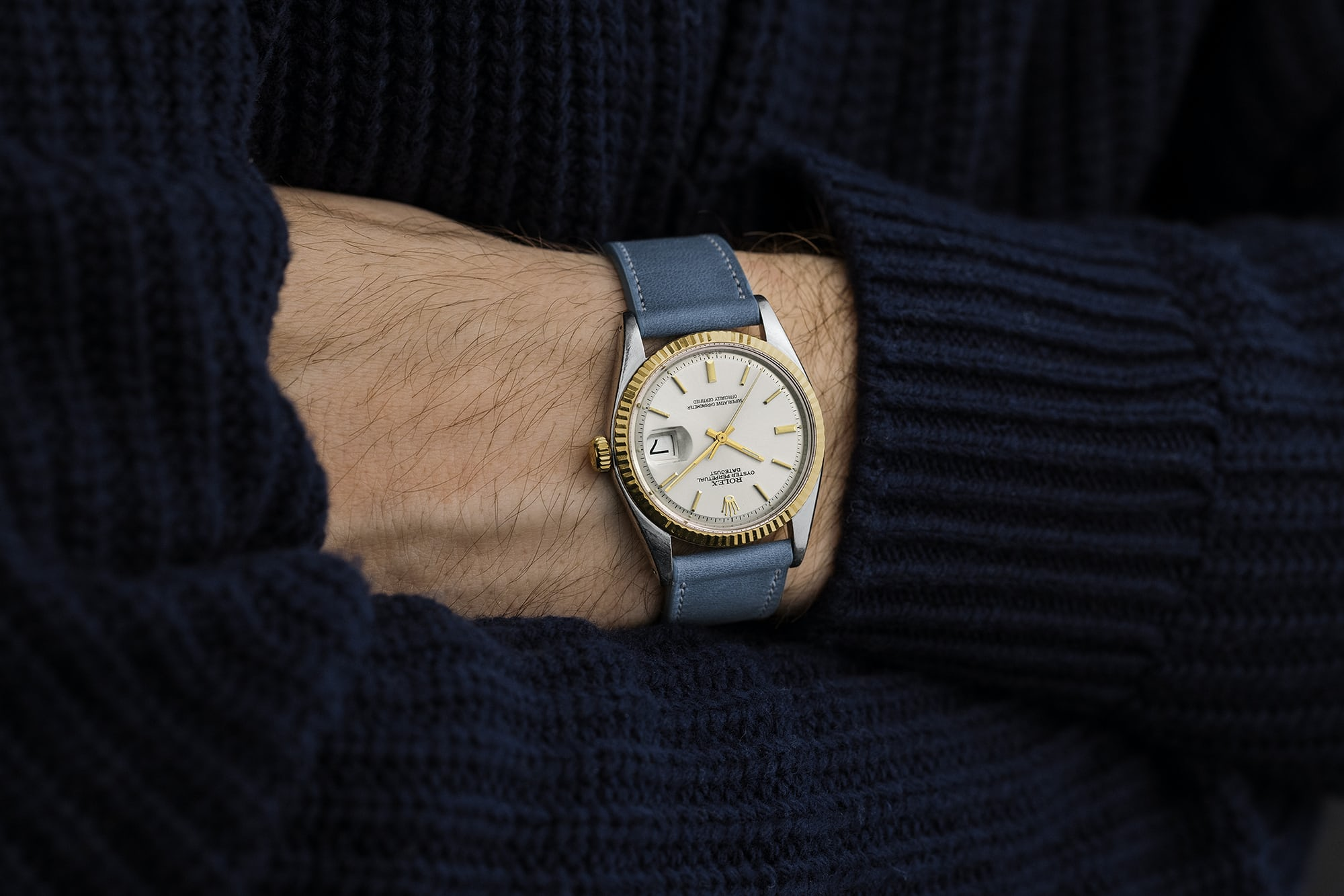 """<p><a href=""""https://shop.hodinkee.com/products/2477-rolex-datejust-two-tone"""" rel=""""noopener"""" target=""""_blank""""><u>1974 Rolex Datejust Ref. 1601 With 'Sigma' Dial In Two Tone</u></a></p>"""