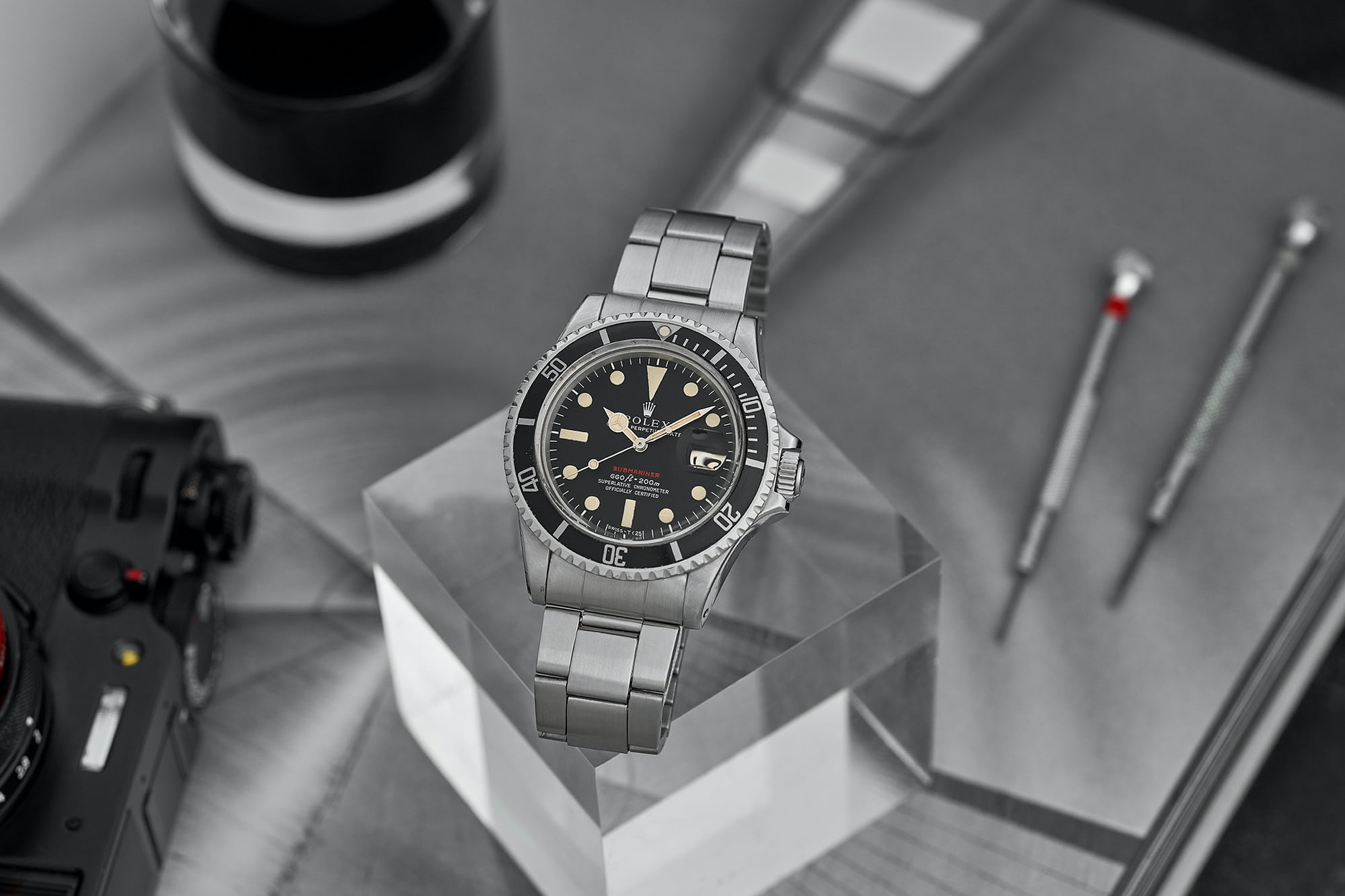 Vintage Watches: A 1972 Rolex 'Red' Submariner With Full Set, A 1956 Omega Constellation In 14k Yellow Gold, And A 1972 Breitling 'Long Playing' Top Time Chronograph